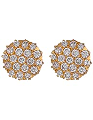 Archi Collection Classic Floral Golden Plated CZ Stud Golden Brass Stud Earring For Women