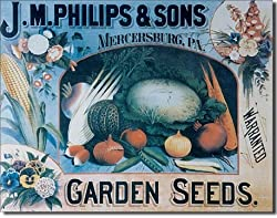 "Phillips Seeds & Vegetables Metal Tin Sign 16""W x 12.5""H"