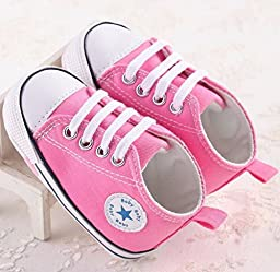 NEW Baby Shoes Brand Newborn Baby Girls Shoes Boys Kids Sports Sneakers Infant Sapatos Newborn Prewalker Canvas Shoes 5 Colors for You (1 US Size, Hot Pink)