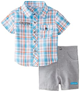 Calvin Klein Baby-Boys born Plaided Short Sleeve Shirt with Short by Calvin Klein