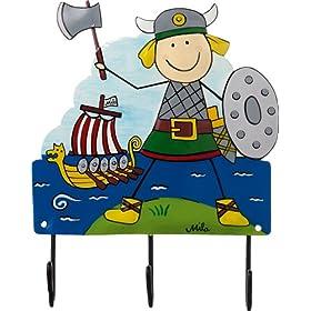Mila Childrens Coat Hook Viking, 3 Hooks, Hand Painted