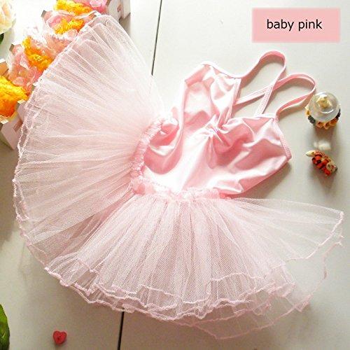 女の子 バレエ ダンス 衣装 ドレス (ベビーピンク(薄ピンク), 100 センチメートル)