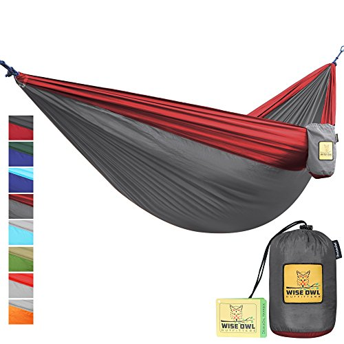 Single & Double Camping Hammock - Top Quality Camp Gear For Backpacking Camping Survival & Travel - Portable Lightweight Parachute Nylon Ropes and Carabiners Included