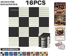Ace Punch 16 Piezas de 2 Colores de la Cuña de la Espuma Acústica Panel de Bricolaje Estudio del Diseño Acústico Revestimientos Aislantes de Sonido con Libre Montaje Tabs 25 x 25 x 2 cm AP1040