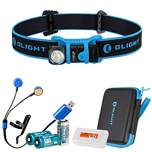 Olight-H1-Nova-500-Lumens-LED-Rechargeable-Headlamp-w-Olight-CR123A-and-Two-RCR123A-Batteries-Olight-UC-Charger-and-LumenTac-Battery-Organizer