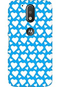 AMEZ designer printed 3d premium high quality back case cover for Moto G4 (sky blue white hearts)