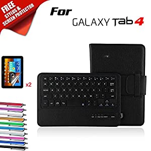 Kool(TM) Samsung Galaxy Tab 4 8.0 Inch T330 Black Leather Bluetooth Keyboard Case Cover Folio Flip Stand [Detachable Wireless Keyboard] (Samsung Galaxy Tab 4 8.0 Inch T330 Detachable Wireless Keyboard, Black)Customer reviews and more information