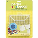 Perler Beads 80-22666 Clear Square Pegboard Set, 4 Pieces