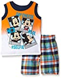 Disney Little Boys' 2 Piece Mickey Mouse Plaid Muscle Tee Short Set, Orange, 24 Months Size: 24 Months Color: Orange, Model: 537, Newborn & Baby Supply