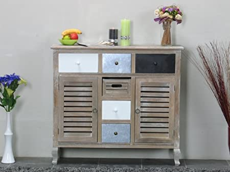Sideboard Kommode Used Look White Wash Madrid Schubladen Schrank