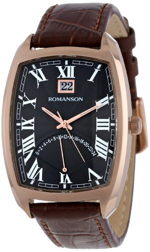 Romanson Men's Precision Quartz Watch With Date And Retrograde Dual Time Zone 24 Hour GMT Function TL0394MM1RA36R