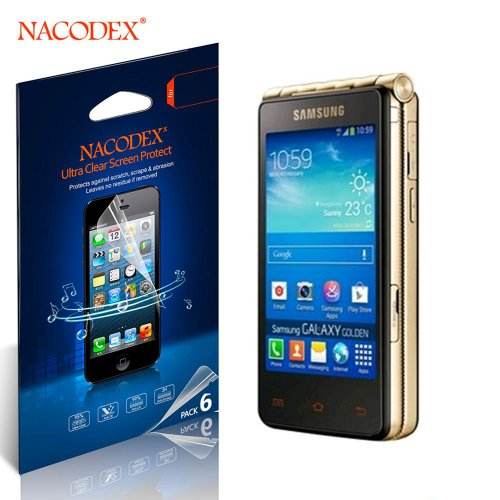 Nacodex® 6X Hd Clear Cover Film Lcd Guard Shield For Samsung Galaxy Golden 4G Lte Gt-I9230/I9235【100% Original With Retail Package- 6Pcs Screen Protectors + 2X Cleaning Cloth + 1X Smoothing Card】 【W/Tracking No. 】