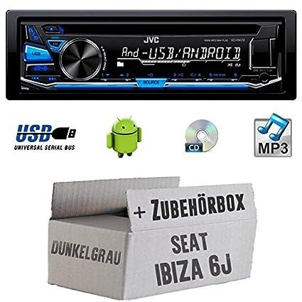 SEAT IBIZA 6J Gris foncé-JVC KD r472e-Kit de montage autoradio CD/MP3/USB -