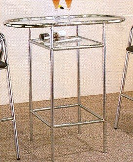 Cheap Retro Style Chrome Finish Metal Kitchen Bar Table w/Glass Top (VF_2033)