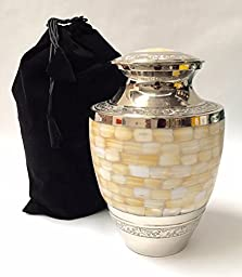 Adult Full Size Mother of Pearl Cremation Urn, Solid Brass Funeral Ash Urns