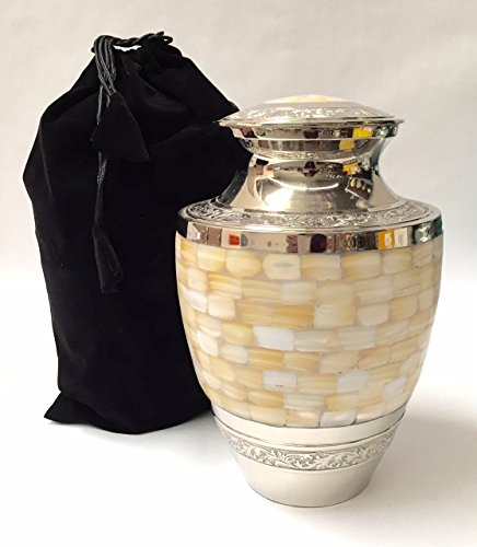 Adult Full Size Mother of Pearl Cremation Urn, Solid Brass Funeral Ash Urns (Urns Full Size compare prices)