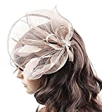 Chloe Ladies Sinamay Fascinator Hat with Hair Clip and Feathers Tea Party Derby Wedding Accessory for Adults Women Teens (Blush with Headband)