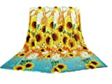Euphoria Super Soft Fleece Prints Throw Blanket for Sofa Couch Lounge Bed Bedding Sunflower Design Double Size 180 x 220cm