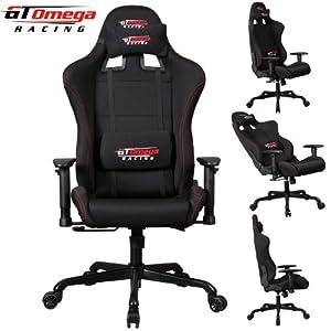 gt omega pro racing fauteuil de bureau baquet en tissu noir cuisine maison. Black Bedroom Furniture Sets. Home Design Ideas
