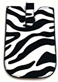EMARTBUY ORANGE SYDNEY BLACK AND WHITE ZEBRA CASE/SLEEVE/HOLDER ( SMALL ) WITH PULL TAB MECHANISM AND LCD SCREEN PROTECTOR