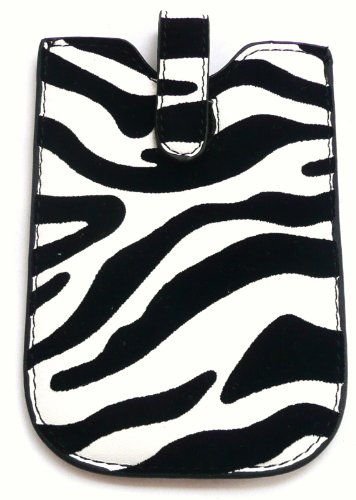 Emartbuy Lg Optimus P970 White Black And White Zebra Case / Hülse / Halter (X-Large) Mit Zug-Vorsprung Mechanismus Und Lcd Displayschutz
