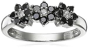 10k White Gold Black and White Diamond Ring (1/2 cttw), Size 7