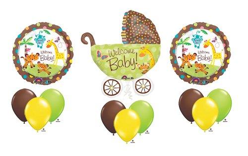 Fisher Price Welcome Baby Shower Stroller Jungle Animal Pram Balloon Bouquet Set front-1019329