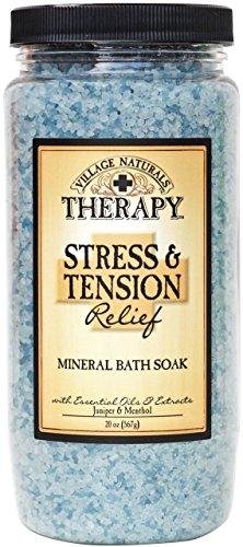 Village naturals Mineral Bath Soak, Aches and Pains Tension Relief, Juniper and Menthol, 20 oz