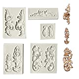 Juland 5 PCS Silicone Fondant Cake Mold Baroque Style Curlicues Scroll Mold for Sugarcraft, Cake Border Decoration, Cupcake Topper, Jewelry, Polymer Clay, Crafting Projects - Gray (Color: Grey)