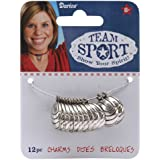 Darice Metal Charms, Silver Volleyball, 12-Pack