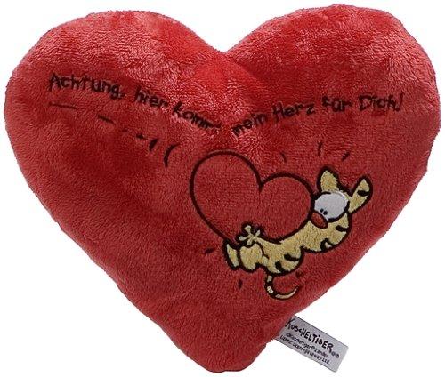Peluche Cojin en forma de corazón con dibujo de tigre