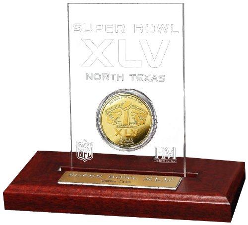 NFL Super Bowl XLV 24KT Gold Flip Coin Desk Top Acrylic