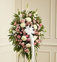 1-800-Flowers – Deepest Sympathies Standing Spray-Pink & White – Small