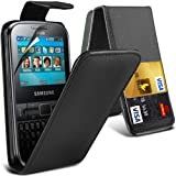 (Black) Samsung Galaxy Chat S3350 Protective Faux Leather Debit/Credit Card Slot Flip Case Cover Skin & Screen Protector Guard By *Aventus*