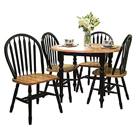 Country Style 5 Pieces Dining & Kitchen Set (1 Table and 4 Chairs) (Black)