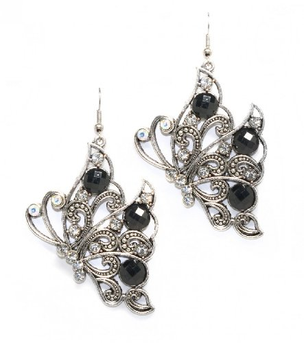 Silver & Black Side-view Butterfly Drop Earrings