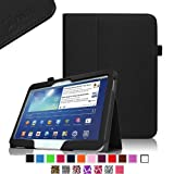Fintie Folio Slim Leather Case for Samsung Galaxy Tab 3 10.1 inch Tablet Auto Sleep/Wake Book Style Stand Cover with Stylus-Loop - Black