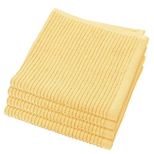 Now Designs Ripple Dishcloth Set Of 4 Lemon Yellow Shopswell
