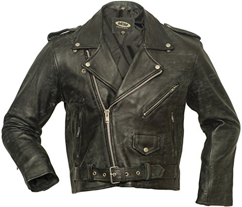 Herren Lederjacke, US-Highway Jacke, Antique Schwarz,Motorrad Lederjacke, Biker Lederjacke, Highway Jacke, Rocker Lederjacke, Chopperjacke, Rindleder, Leather Jacket (S)