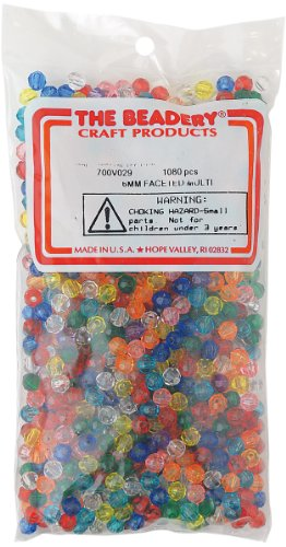 The Beadery 6mm Faceted Bead, 1080-Piece, Multi