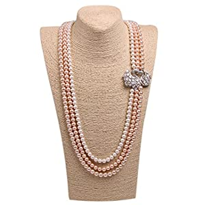 Wild Wind (TM) Couple Diamond Swan Multi Pearl Strands Necklaces (Three Layers Mix-color Orange)