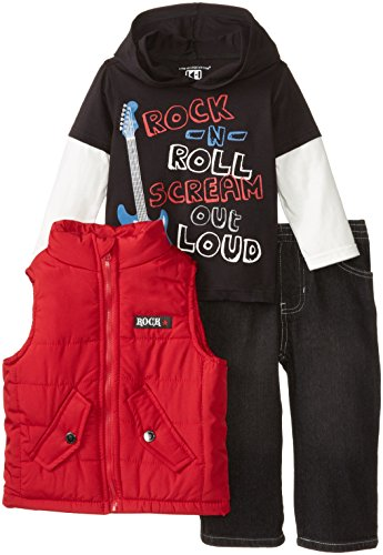Kids Headquarters Baby-Boys Infant Vest With Hooded Tee And Jeans, Red, 18 Months front-1067357