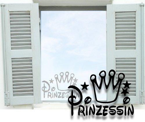 XL Fenstertattoo ~ Funny01 Prinzessin mit Krone ~ glas011-80x57 cm Aufkleber für Fenster, Glastür und Duschtür aus Glas, Fensterbild, wasserfeste Glasdekorfolie in Sandstrahl - Milchglas Optik