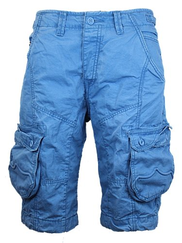New Mens Blue Police Jeans 883 Linus Designer Branded Loose Fit Cargo Shorts W32