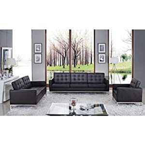 LexMod Leather Florence Style Armchair Loveseat and Sofa in Brown