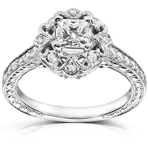 0.58 Carat Antique Discount Diamond Engagement Ring with Princess cut Diamond on 14K White gold