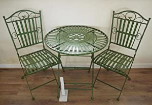 French ornate antique green wrought iron metal garden for Metal garden table and chairs