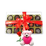 Valentine Chocholik Luxury Chocolates - Attractive Truffles Collection With Teddy And Rose