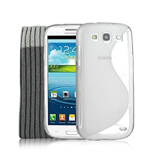 Samsung Galaxy S3 SIII Clear S-Line Gel Silicone Case + Screen Protector & Sock