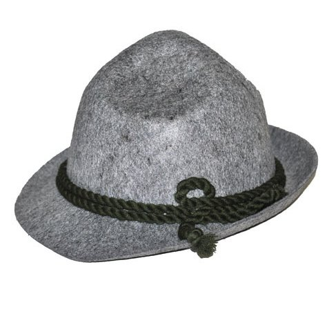 Alpine Hat Bavarian German Oktoberfest Costume Accessory Men's Gray Felt